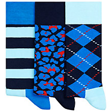Buy Happy Socks Argyle Socks, Pack of 3, One Size, Blue/Red/Black Online at johnlewis.com