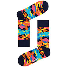Buy Happy Socks Camouflage Print Socks, One Size, Multi Online at johnlewis.com