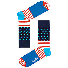 Buy Happy Socks Dot and Stripe Socks, One Size, Blue/Red Online at johnlewis.com