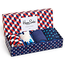 Buy Happy Socks Optical Illusion Socks Gift Box, One Size, Pack of 4, Multi Online at johnlewis.com