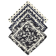 Buy Scotch & Soda Floral Print Pocket Squares, Pack of 3, Black Online at johnlewis.com
