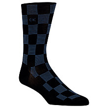 Buy Calvin Klein Checker Stripe Socks, One Size, Navy/Black Online at johnlewis.com