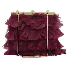 Buy Reiss Grayson Feather Frame Clutch Bag, Burgundy Online at johnlewis.com