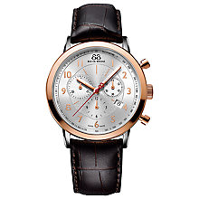 Buy Raymond Weil 87WA1442213 88 Rue Du Rhone Mens Chronograph Leather Strap Watch, Brown / Rose Gold Online at johnlewis.com