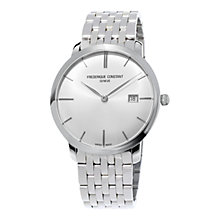 Buy Frédérique Constant FC-306S4S6B2 Slimline Automatic Men's Bracelet Watch, Silver / White Online at johnlewis.com
