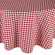 Buy John Lewis Gingham Check Tablecloth, Red, Dia.180cm Online at johnlewis.com