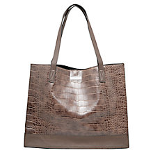 Buy Mango Croc Effect Shopper, Dark Brown Online at johnlewis.com