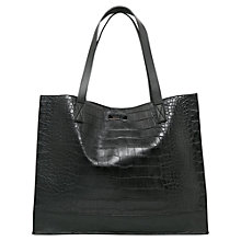Buy Mango Croc-Effect Shopper Bag, Black Online at johnlewis.com