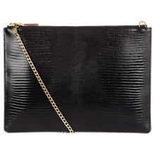 Buy Whistles Rivington Lizard Clutch Bag, Black Online at johnlewis.com