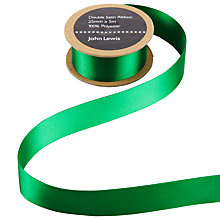 Buy John Lewis Satin Ribbon, 25mm, Dark Green Online at johnlewis.com