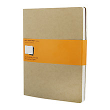 Buy Moleskine Kraft Cahier Notebooks, Set of 3, Extra Large Online at johnlewis.com