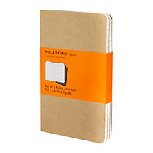 Buy Moleskine Kraft Cahier Notebooks, Set of 3, Small Online at johnlewis.com