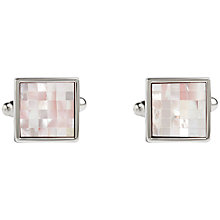 Buy Simon Carter Check Square Mother of Pearl Cufflinks, Pink Online at johnlewis.com