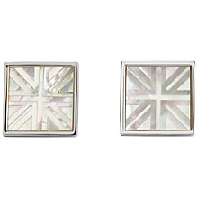 Buy Simon Carter Union Jack Platinum Plated Mother of Pearl Cufflinks Online at johnlewis.com