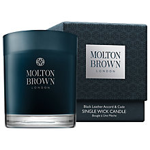 Buy Molton Brown Black Leather Accord & Cade Single Wick Candle, 180g Online at johnlewis.com