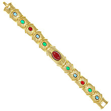 Buy Eclectica Vintage 1980s Gold Plated Cabochon Bracelet, Gold/Multi Online at johnlewis.com