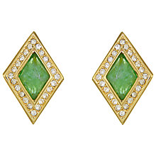 Buy Eclectica Vintage 1980s Christian Dior Geometric Clip-On Earrings, Gold/Green Online at johnlewis.com