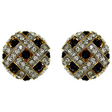 Buy Eclectica Vintage 1980s Criss Cross Clip-On Earrings, Blue/Gold Online at johnlewis.com