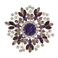 Buy Eclectica Vintage 1950s Austrian Crystal Chrome Plated Brooch, Purple/Silver Online at johnlewis.com