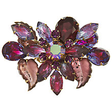 Buy Eclectica Vintage 1950s Leaf Navette Gold Plated Brooch, Purple Online at johnlewis.com