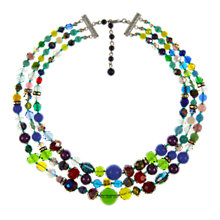 Buy Eclectica Vintage 1950s Vintage Beads Gold Plated Three Row Necklace, Multi Online at johnlewis.com