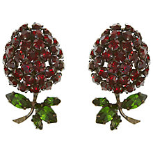Buy Eclectica Vintage 1950s Schriener of New York Chrome Plated Raspberry Clip-On Earrings, Red/Green Online at johnlewis.com