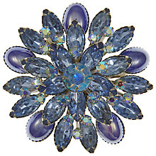 Buy Eclectica Vintage 1950s Large Sky Blue Rhinestone Navette Brooch, Blue Online at johnlewis.com