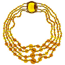 Buy Eclectica Vintage 1960s Four Row Topaz Necklace, Gold Online at johnlewis.com