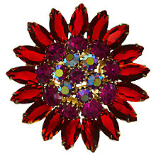 Buy Eclectica Vintage 1950s Rhinestone Flower Brooch, Red/Cerise Online at johnlewis.com