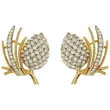 Buy Eclectica Vintage 1960s Trifari Swarovski Crystals Clip-On Earrings, Gold / Silver Online at johnlewis.com