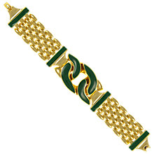 Buy Eclectica Vintage 1970s Helena Rubenstien Gold Plated Enamel Bracelet, Gold/Green Online at johnlewis.com