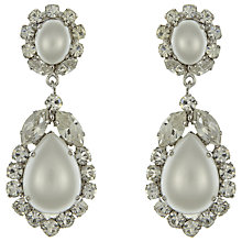 Buy Eclectica Vintage 1950s Tear Drop Faux Pearl Clip-On Earrings, Silver Online at johnlewis.com