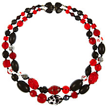 Buy Eclectica Vintage 1960s Chunky Two Row Bead Necklace, Red/Black Online at johnlewis.com