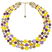 Buy Eclectica Vintage 1960s Three Row Amethyst Gold Plated Necklace, Yellow/Purple Online at johnlewis.com