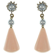 Buy Eclectica Vintage 1960s Miriam Haskell Clip-On Pearl and Resin Earrings, Pink/Grey Online at johnlewis.com