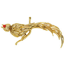 Buy Eclectica Vintage 1964 Grosse Bird of Paradise Gold Plated Brooch, Gold/Red Online at johnlewis.com