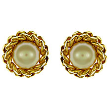 Buy Eclectica Vintage 1960s Christian Dior Pearl and Chain Clip-On Earrings, Gold/Pearl Online at johnlewis.com