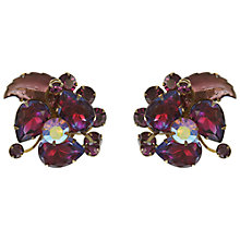 Buy Eclectica Vintage 1950s Leaf Rhinestone Clip-On Earrings, Purple Online at johnlewis.com