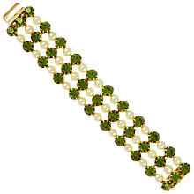 Buy Eclectica Vintage 1950s Gold Plated Faux Pearl Bracelet, Green Online at johnlewis.com