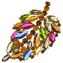 Buy Eclectica Vintage 1960s Navette Leaf Gold Plated Rhinestone Brooch, Multi/Gold Online at johnlewis.com