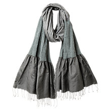 Buy East Silk Mix Ruched Border Scarf, Smoke Online at johnlewis.com