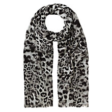 Buy Whistles Brushed Fur Print Scarf, Grey/Multi Online at johnlewis.com