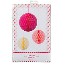 Buy Talking Tables Pink/Cream Honeycomb Balls, Set of 3 Online at johnlewis.com