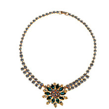 Buy Alice Joseph Vintage Diamante Flower Necklace, Green / White Online at johnlewis.com