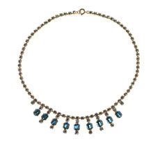 Buy Alice Joseph Vintage 1950s Diamante Necklace, Aqua / White Online at johnlewis.com