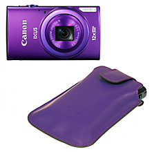 "Buy Canon IXUS 265 HS Digital Camera Kit HD 1080p, 12x Optical Zoom, 16MP, Wi-Fi, NFC, 3"" Screen, with Case, Purple Online at johnlewis.com"