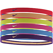 Buy Nike Swoosh Headbands, Pack of 6, Red Multi Online at johnlewis.com