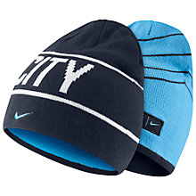 Buy Nike Manchester City Supporters Reversible Beanie, One Size, Navy/Blue Online at johnlewis.com