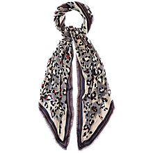 Buy Jaeger Modern Leopard Silk Scarf, Grey Online at johnlewis.com