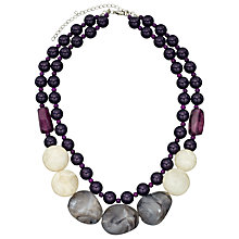 Buy John Lewis Double Layer Bead Necklace, Purple / Grey Online at johnlewis.com